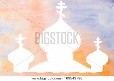 white watercolor church or temple silhouette on colored background