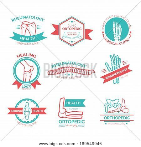 Orthopedic and rheumatology medicine symbol. Emblem, stamp and badge with bones of hand, foot, spine, knee, elbow and pelvis for medical and diagnostic clinic, rehabilitation health center design