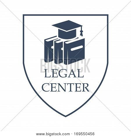 Advocacy and legal center vector icon with symbols of law code books and judge or juror hat. Juridical shield sign or emblem for court advocate or prosecutor attorney office, counsel or lawyer and notary company poster