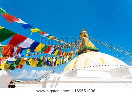 Boudhanath Stupa Second Level Prayer Flags H