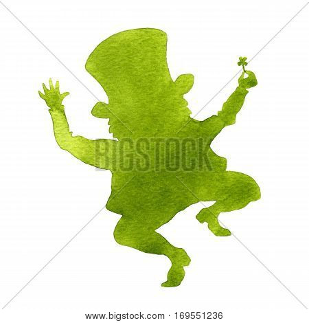 Silhouette of a leprechaun. Watercolor illustration on white