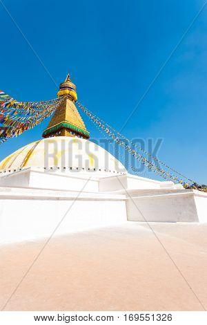 Boudhanath Stupa Eyes White Base Platform Nobody V