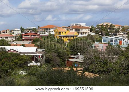 Colorful houses situated on the hills of Willemstad on Curacao