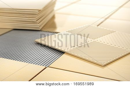 Process of floor coating. Ceramic tile on a tiled floor. 3d illustration