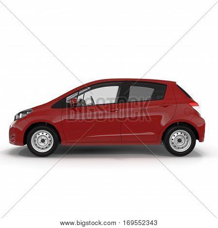Generic hatchback car on white background. Side view. 3D illustration