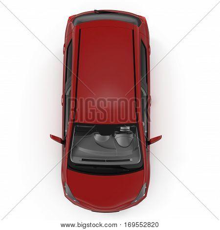 Generic hatchback car on white background. Top view. 3D illustration