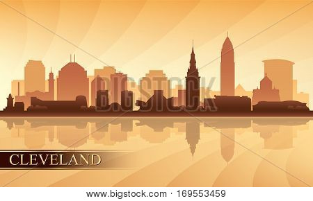 Cleveland City Skyline Silhouette Background