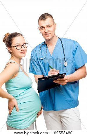 Portrait Of A Doctor And Obstetrician Young Pregnant Mother Isolated