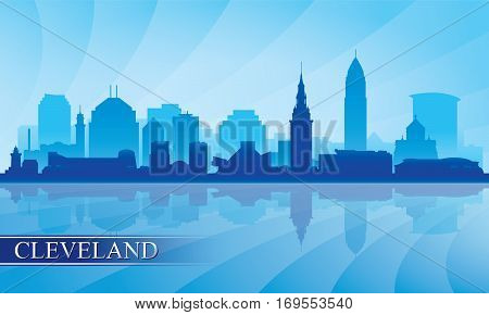 Cleveland City Skyline Silhouette Background