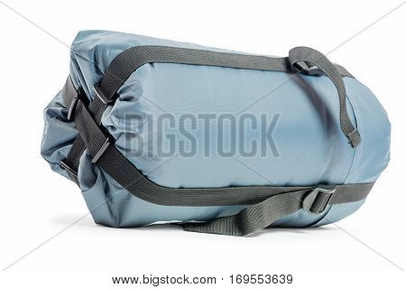 Packed A Sleeping Bag In Gray On A White Background Closeup