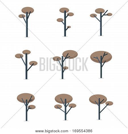 Collection stock of tree set vector illustration