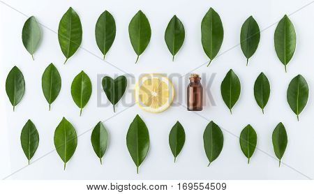Homemade Essential Oil Concept. Bottle Essential Oil With Slice Lemon, Leaf In Heart Shape On White