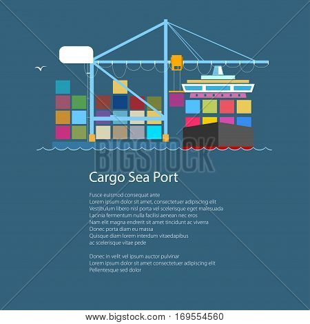 Cargo Container Ship and Text, Unloading Containers from a Cargo Ship in a Seaport with Crane, International Freight Transportation ,Poster Brochure Flyer Design,Vector Illustration