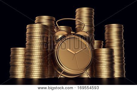 Alarm clock with golden coins .3d render. Isolated black background