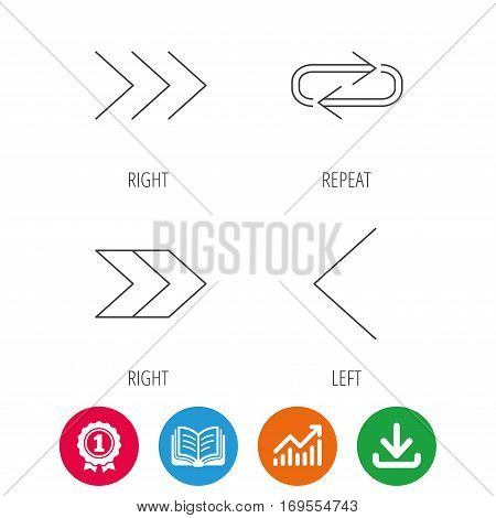 Arrows icons. Right direction, repeat linear signs. Next, back arrows flat line icons. Award medal, growth chart and opened book web icons. Download arrow. Vector
