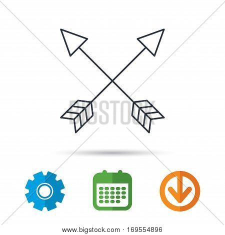 Bow arrows icon. Hunting sport equipment sign. Archer weapon symbol. Calendar, cogwheel and download arrow signs. Colored flat web icons. Vector