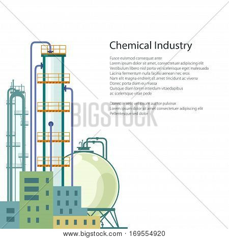 Chemical Plant Isolated on White Background, Refinery Processing of Natural Resources, Industrial Pipes and Text ,Poster Brochure Flyer Design, Vector Illustration