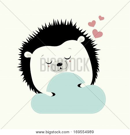 Greeting card Valentine's day.  Cute hedgehog with eyes closed, holds in paws a blue cloud.The over hedgehog three pink hearts.