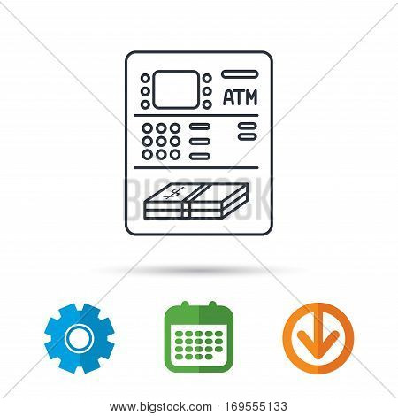 ATM icon. Automatic cash withdrawal sign. Calendar, cogwheel and download arrow signs. Colored flat web icons. Vector