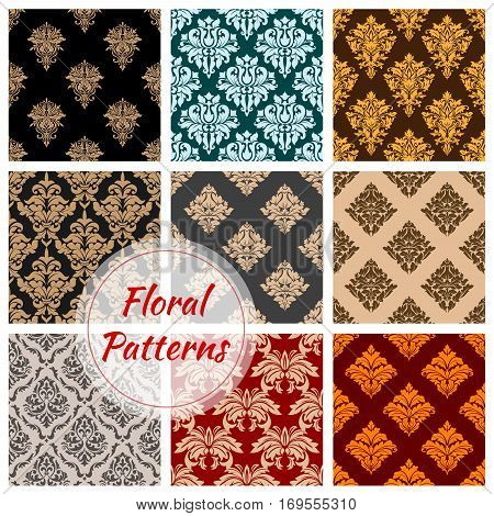 Tracery or floral ornament seamless pattern background. Vintage flourish embellishment or retro heraldic motif, victorian royal adornment. Old heraldic fashion and classic luxury backdrop for fabric, medieval theme