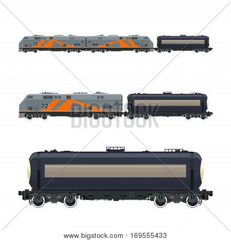 Locomotive with Railway Tank Car, Train, Railway and Container Transport, Tank on Railway Platform for Transportation of Liquid and Loose Freights, Vector Illustration