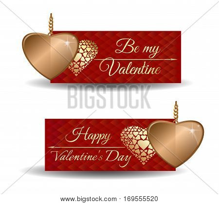 Valentine's banners set. Be my Valentine. Happy Valentine's Day. Trendy banners for Valentine's Day with red greeting card and golden hearts. Vector illustration