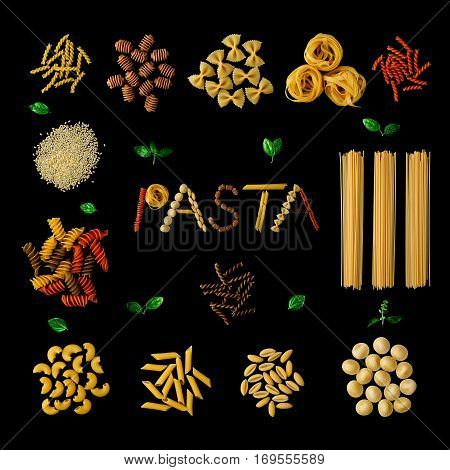 Italian Food Concept And Menu Design. Different Kind Of Pasta Farfalle, Pasta A Riso, Orecchiette Pu