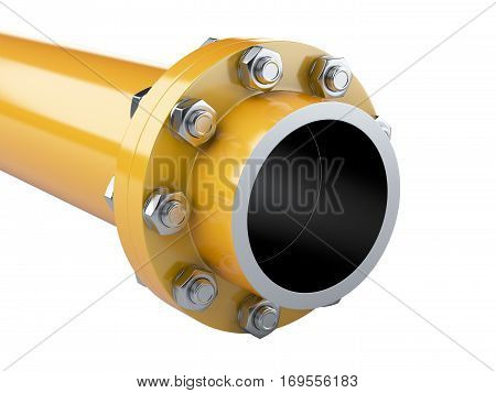 Flanges gas pipe with nuts and bolts. Pipeline in oil and gas industry. 3d illustration isolated on white background.