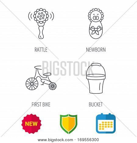 Newborn, rattle and first bike icons. Newborn child, bucket linear signs. Shield protection, calendar and new tag web icons. Vector
