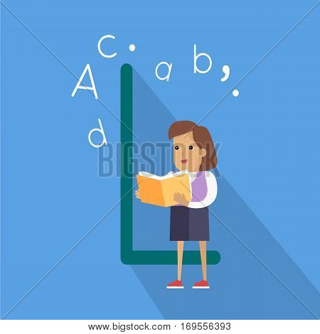 Science alphabet. Letter - H. ABC vector. Girl with orange book. Simple colored letters and teenager character. Scientific research, science lab, science test, technology illustration. Flat design