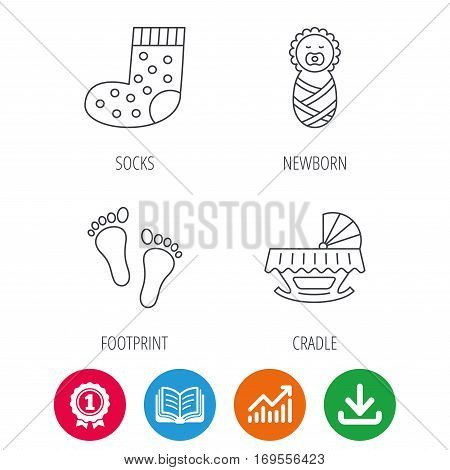 Footprint, cradle and newborn baby icons. Socks linear sign. Award medal, growth chart and opened book web icons. Download arrow. Vector