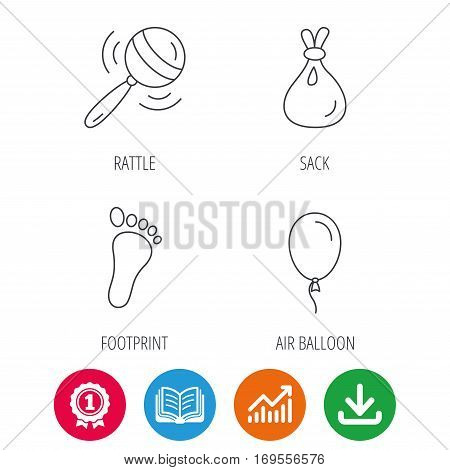 Rattle toy, footprint and air balloon icons. Sack linear sign. Award medal, growth chart and opened book web icons. Download arrow. Vector