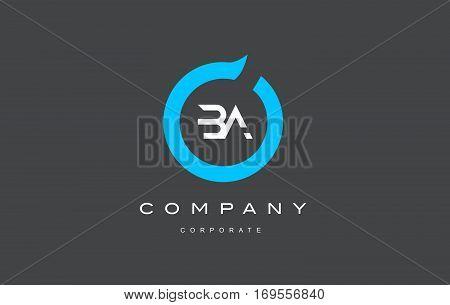 BA letter combination alphabet blue circle vector logo icon sign design template