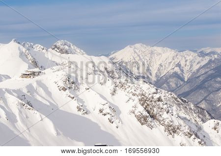 The ski shelter in the mountains. The complex mountain-ski runs and facilities in the village of Rosa Khutor.