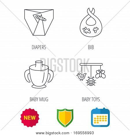 Diapers, child mug and baby toys icons. Dirty bib linear sign. Shield protection, calendar and new tag web icons. Vector