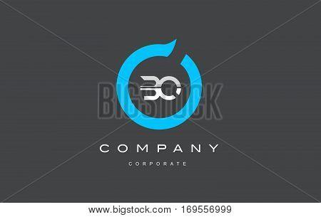 BQ letter combination alphabet blue circle vector logo icon sign design template