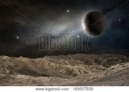 moon on a desert landscape in a starry night, 3d illustration