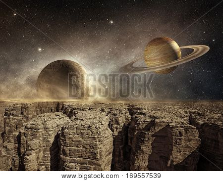 saturn and moon in the sky of a barren landscape, 3d illustration