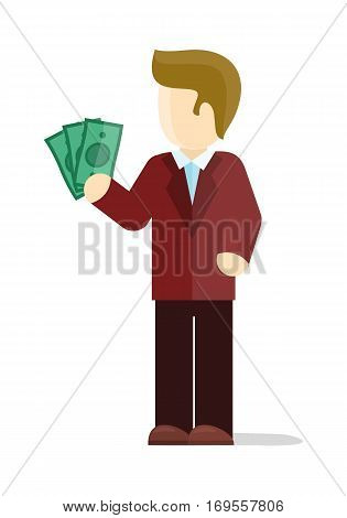Croupier vector illustration. Flat design. Man character in red suit standing with dollar bills in hand. Winning at casino. Good stake in gambling. Lucky gambler. For gambling services ad. On white