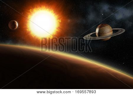 glowing sun and solar system planets 3d illustration