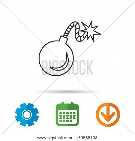 Retro bomb icon. Boom explode sign. Calendar, cogwheel and download arrow signs. Colored flat web icons. Vector