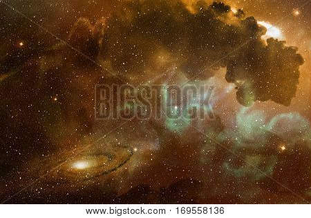 3d illustration of nebula and spiral galaxy in billions of stars