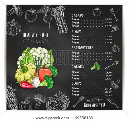 Vegetables sketch chalk menu on vector blackboard. Healthy organic vegetarian soups and salads prices of veggies cauliflower and broccoli cabbage, patisony squash and pumpkin, tomato and bell pepper, onion leek, radish and corn