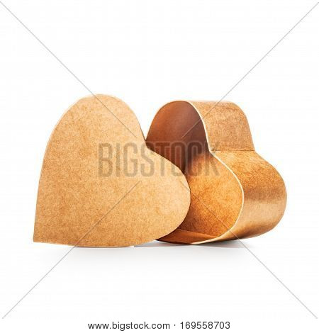 Heart shaped open gift box as holiday present single object isolated on white background with clipping path