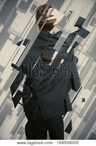 Back view of worried businessman on abstract background. Stress concept