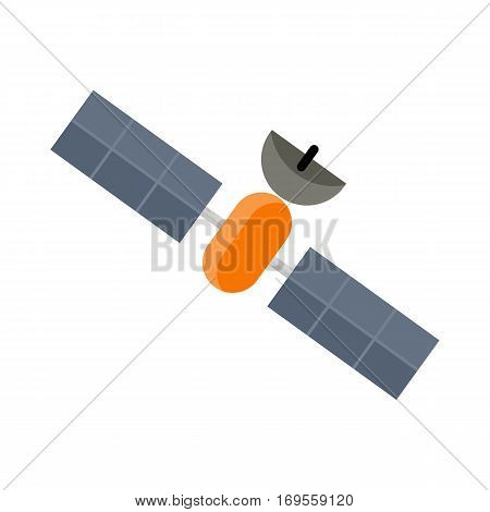 Space shuttle satellite isolated on white. Orbiter sputnik. Launch, space station, astrology and star, telescope and galaxy, constellation and science. Artificial communication satellite. Vector
