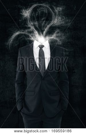 Businessman with smoke shaped as lamp instead of head. Idea concept