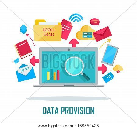 Data provision banner. Networking communication and data icons around laptop on white background. Data protection, global storage service and online cloud storage, security and privacy, safety, backup