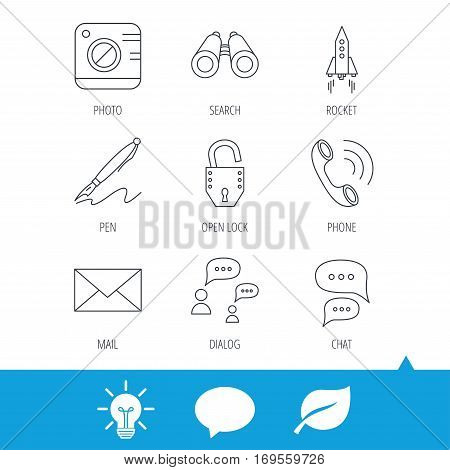 Photo, startup rocket and search icons. Pen, lock and mail linear signs. Dialog chat bubbles, phone call flat line icons. Light bulb, speech bubble and leaf web icons. Vector