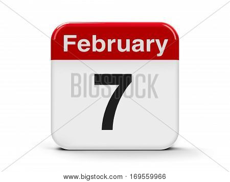Calendar web button - The Seventh of February three-dimensional rendering 3D illustration